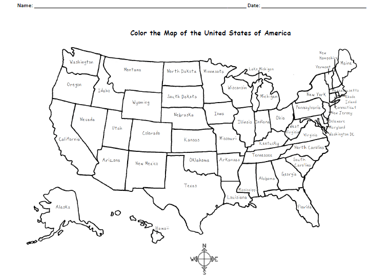 A Free Printable Map Of The United States To Color And