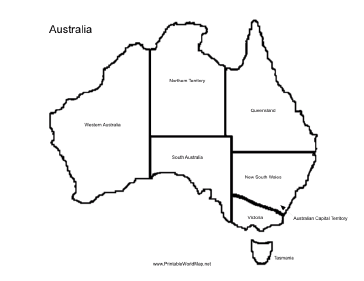 A Printable Map Of The Continent Of Australia Labeled With