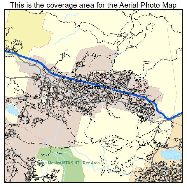 Aerial Photography Map Of Simi Valley CA California