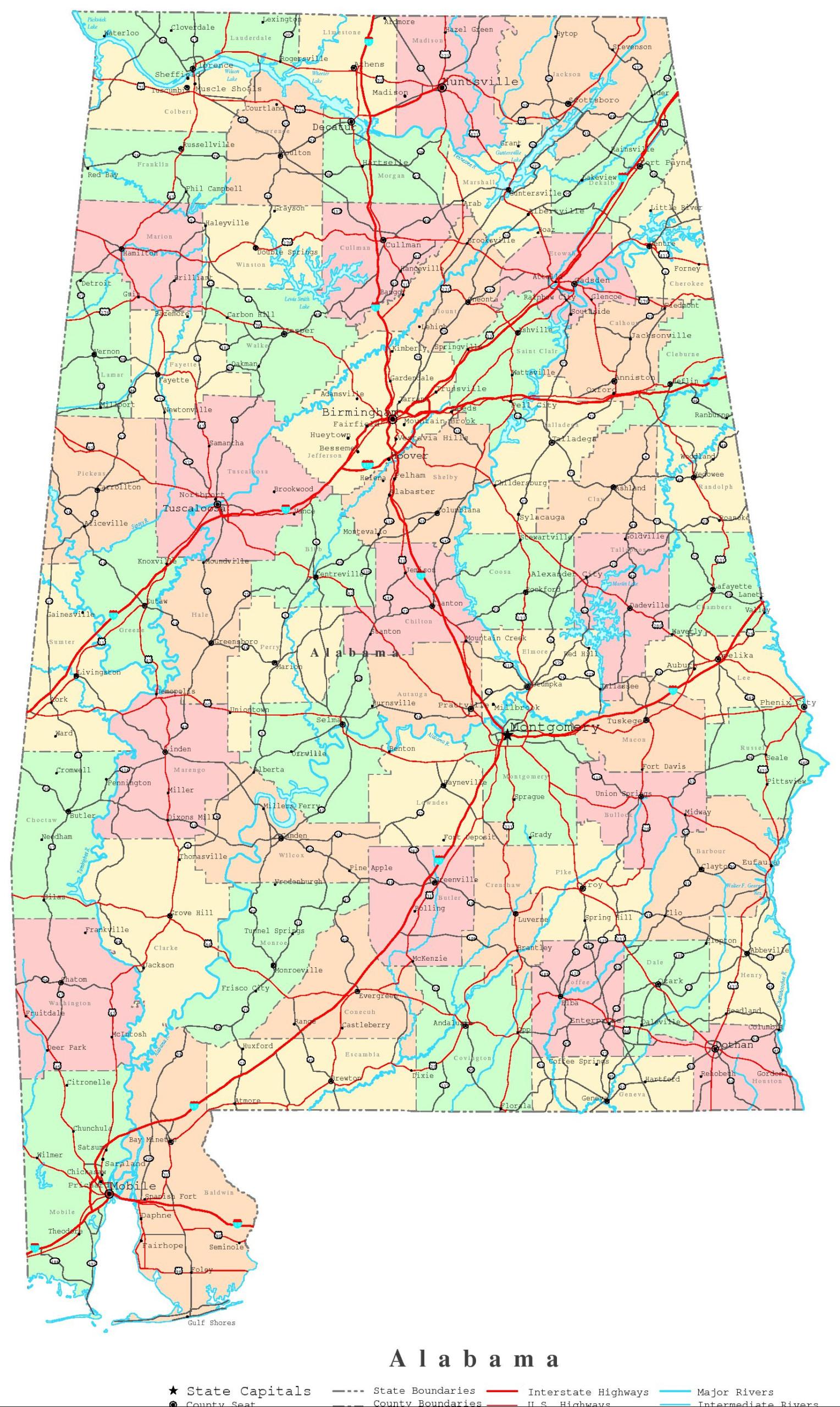 Alabama Printable Map
