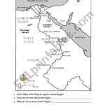 Ancient Egypt Map ESL Worksheet By Monsone