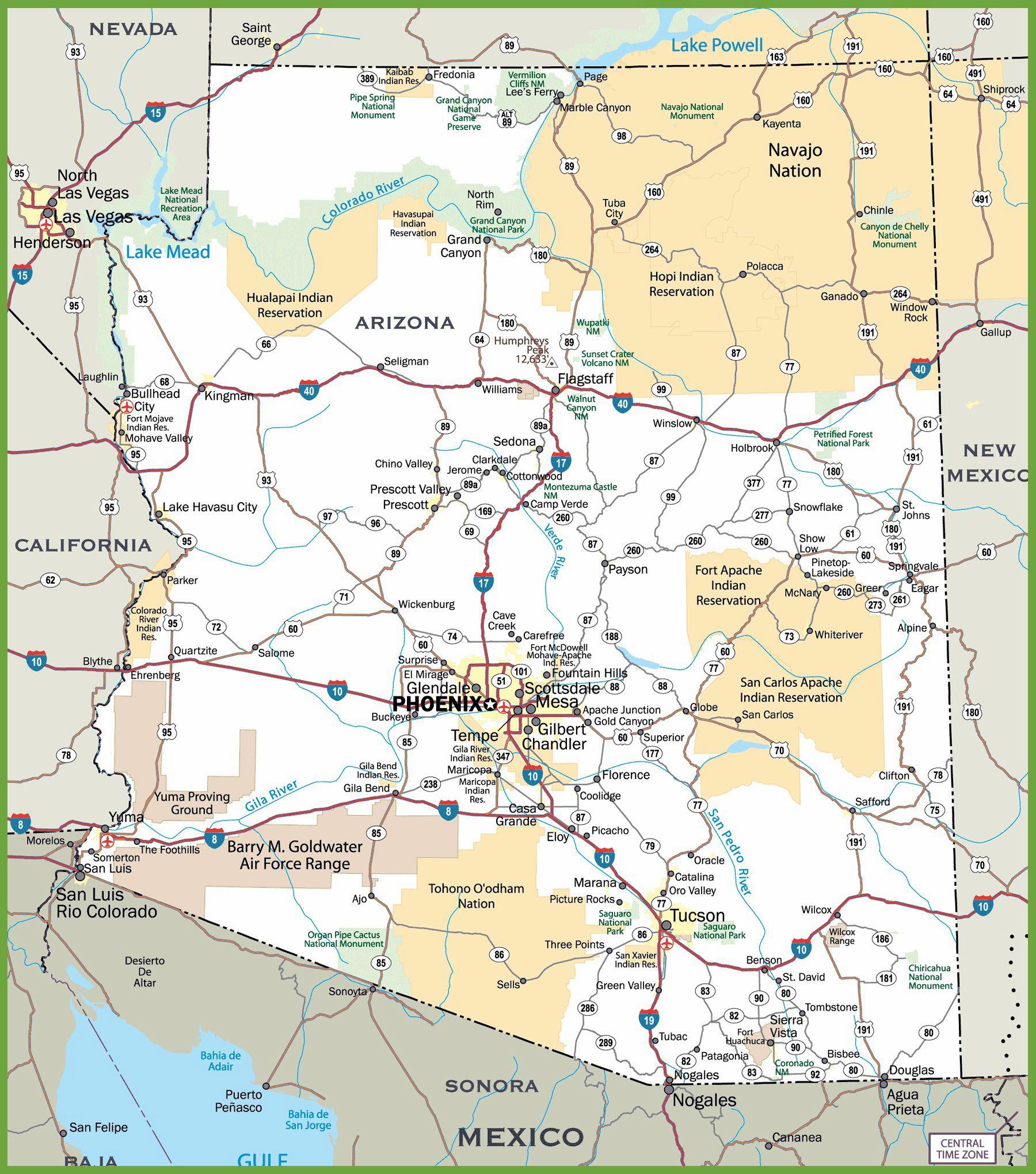 Arizona Map Pinotglobal