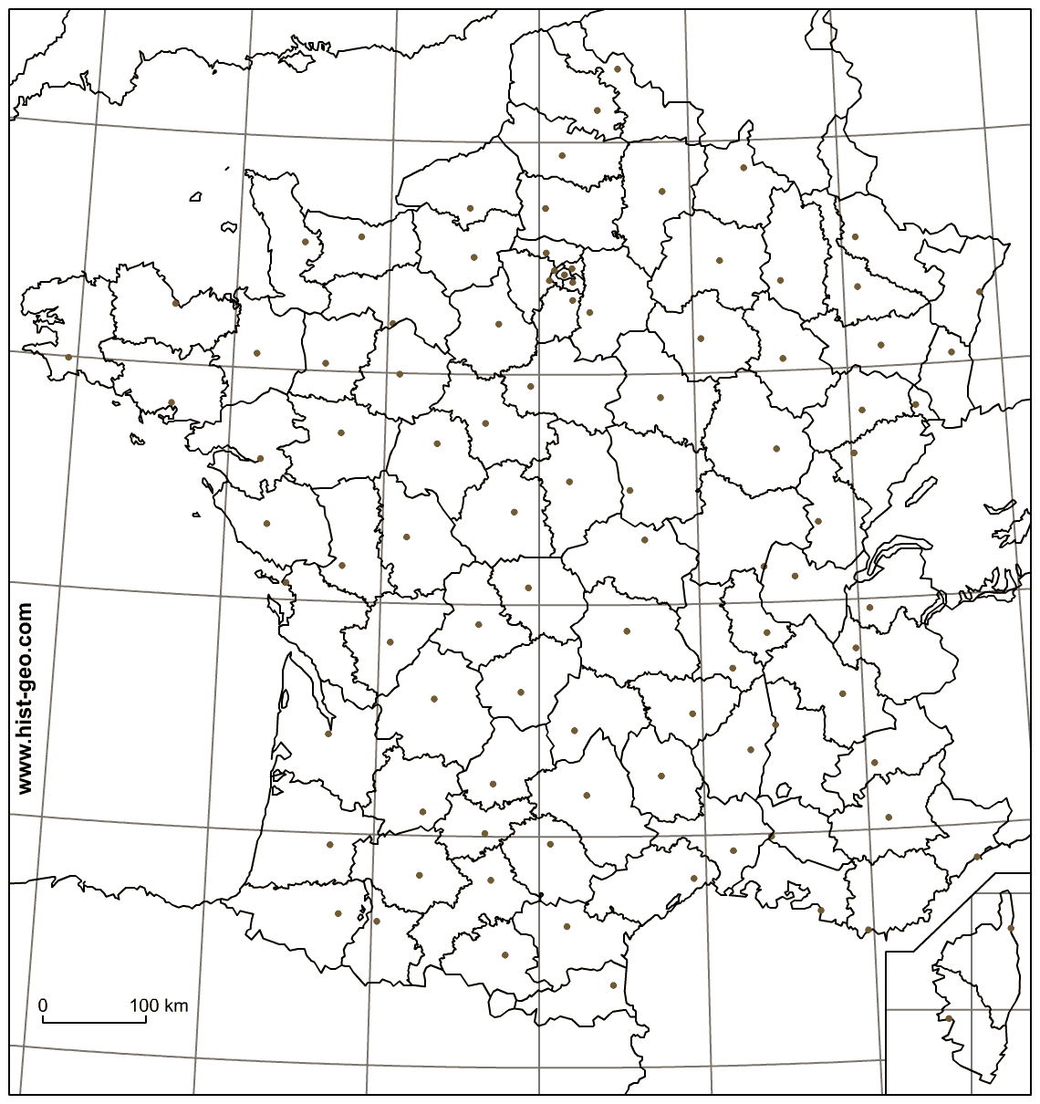 Blank Map Of France Departments Capitals Of Departments