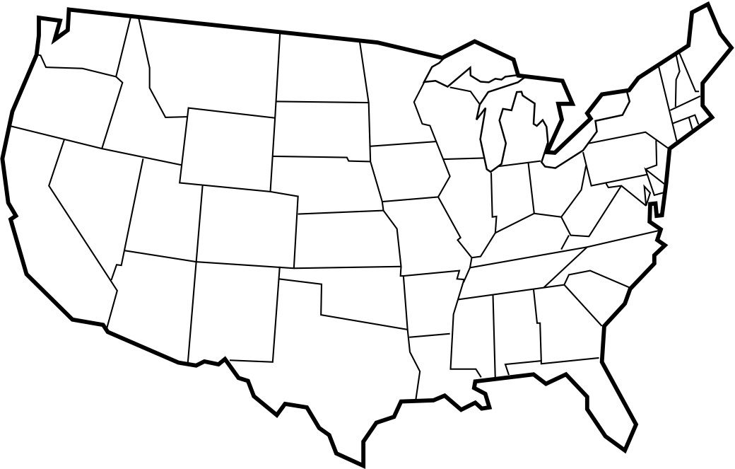 Blank USA Map With Thick Black Borders With Images