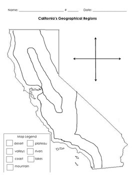 California Region Map With Borders By Students In
