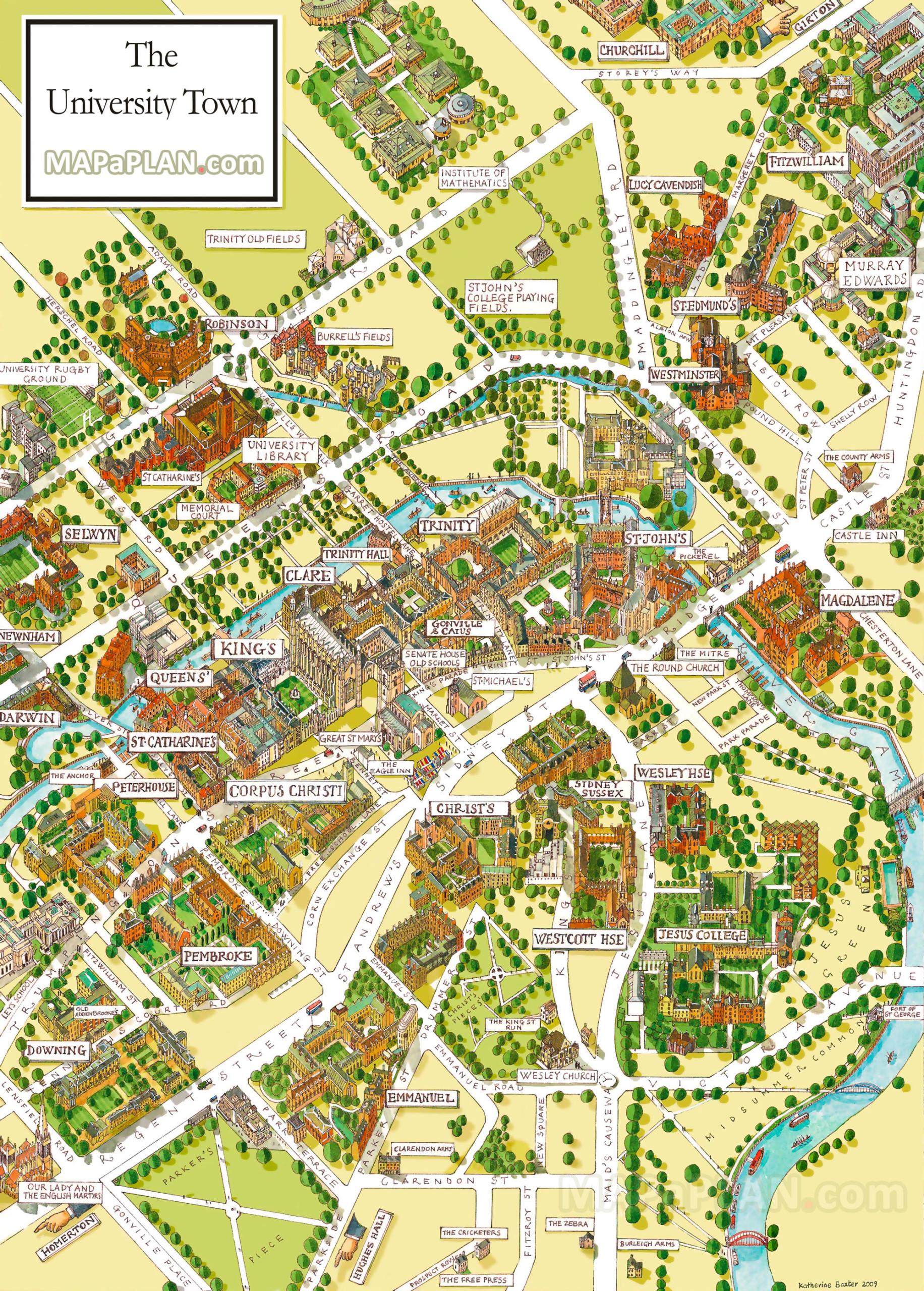 Cambridge Map Cambridge University Campus Departments