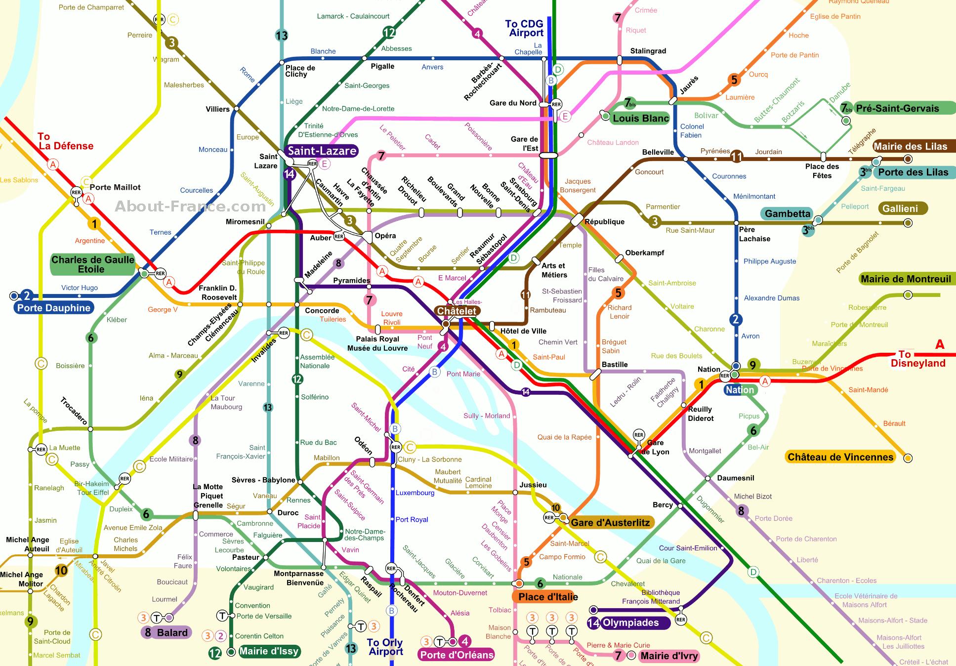 Central Paris Metro Map About France
