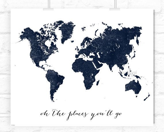 Custom Quote Color Size PRINTABLE World Map