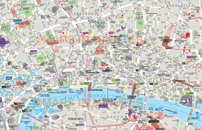 Deluxe London City Map In Illustrator Editable Vector Format