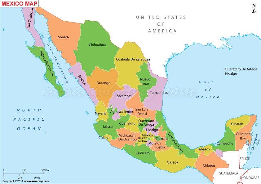Description The Political Map Of Mexico Showing Mexico