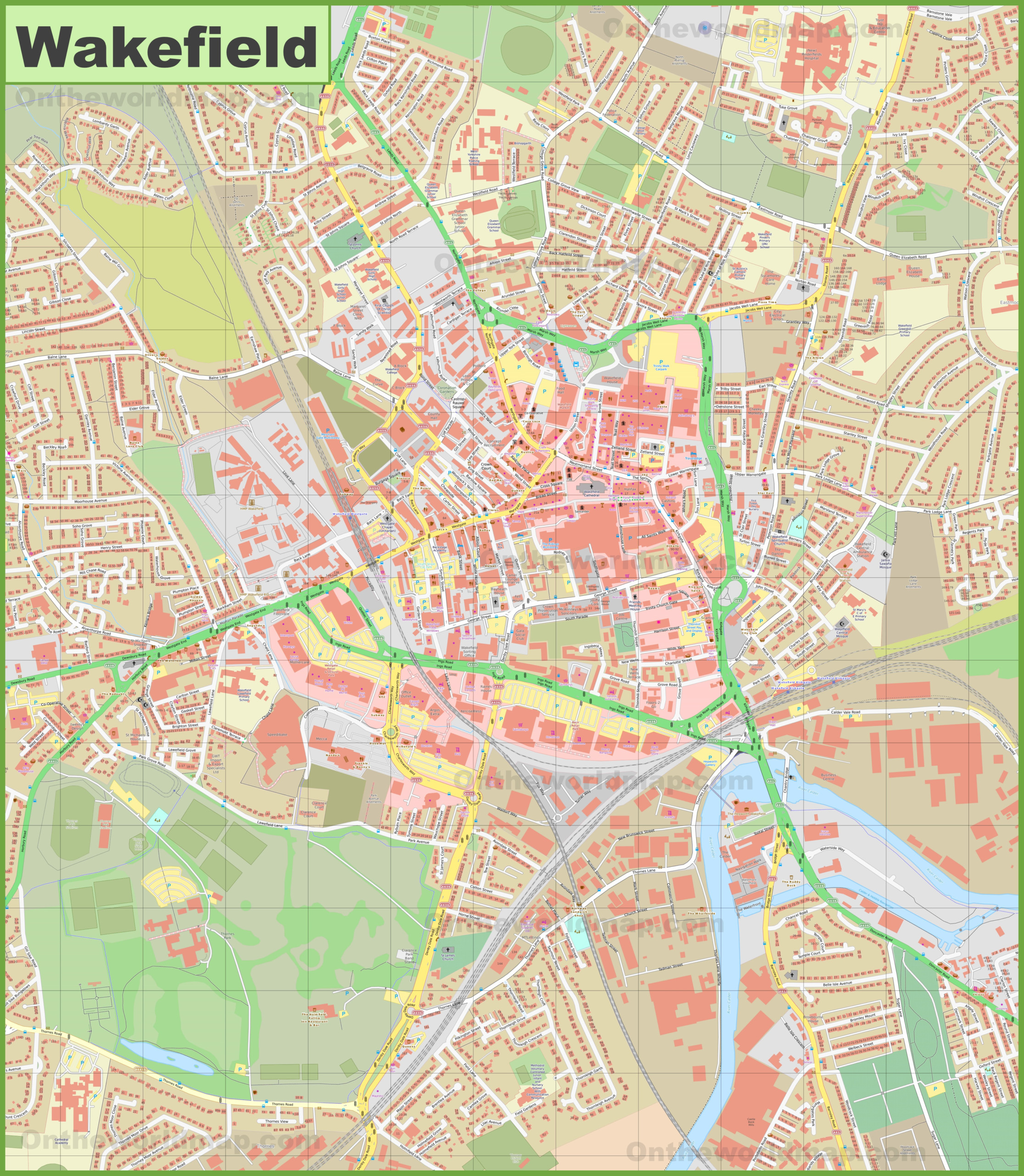 Detailed Map Of Wakefield
