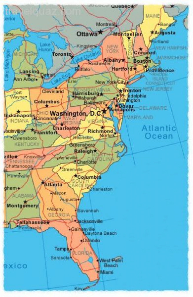 East Coast States Map Printable Map