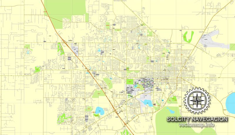 Gainesville Florida US Printable Vector Street City Plan