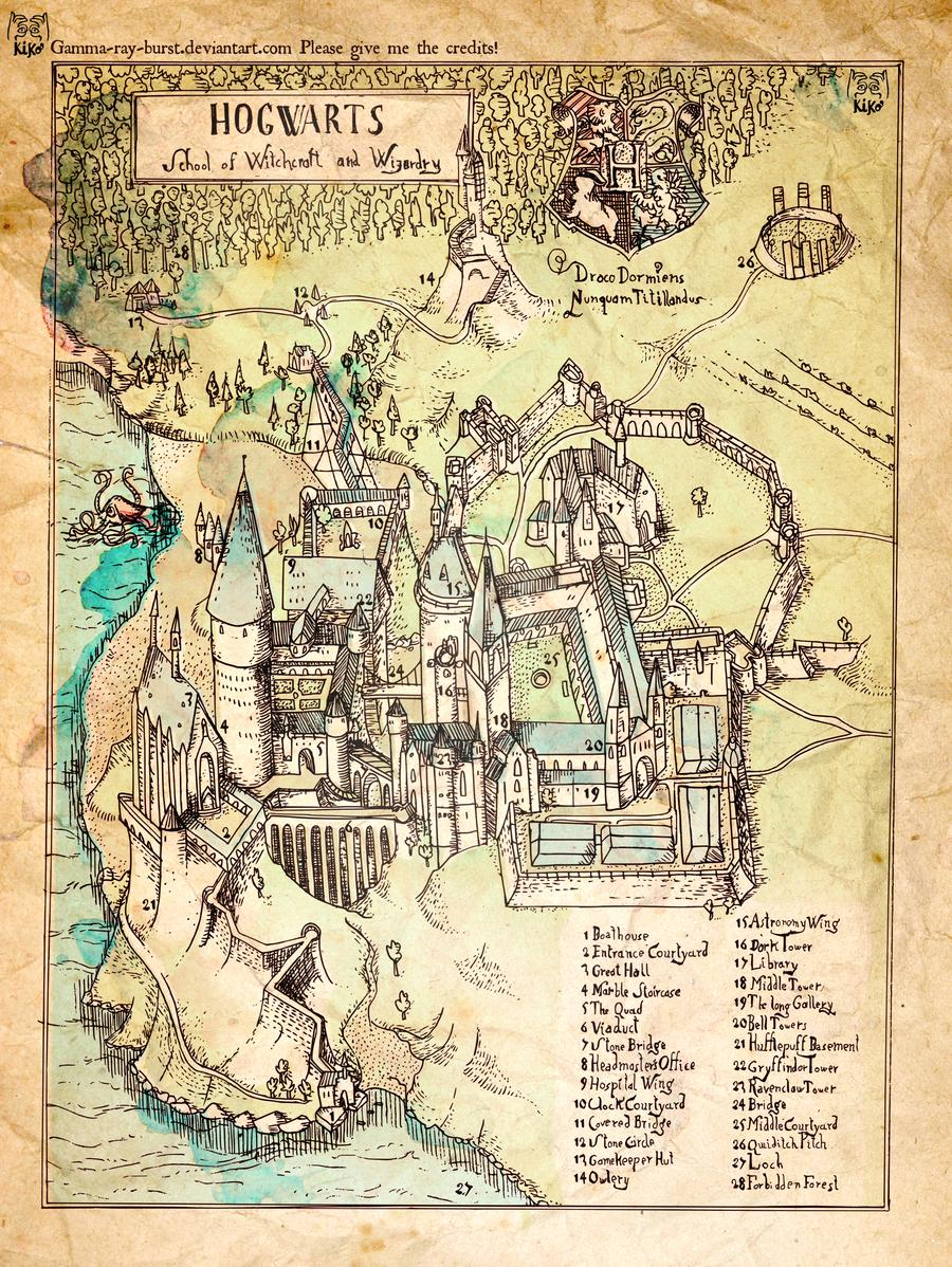 Hogwarts The Illustrated Map Harry Potter World Harry