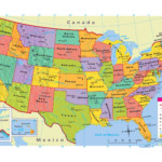 Large Attractive Political Map Of The USA With Capital And