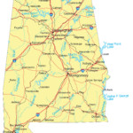 Large Detailed Road Map Of Alabama With Cities Vidiani