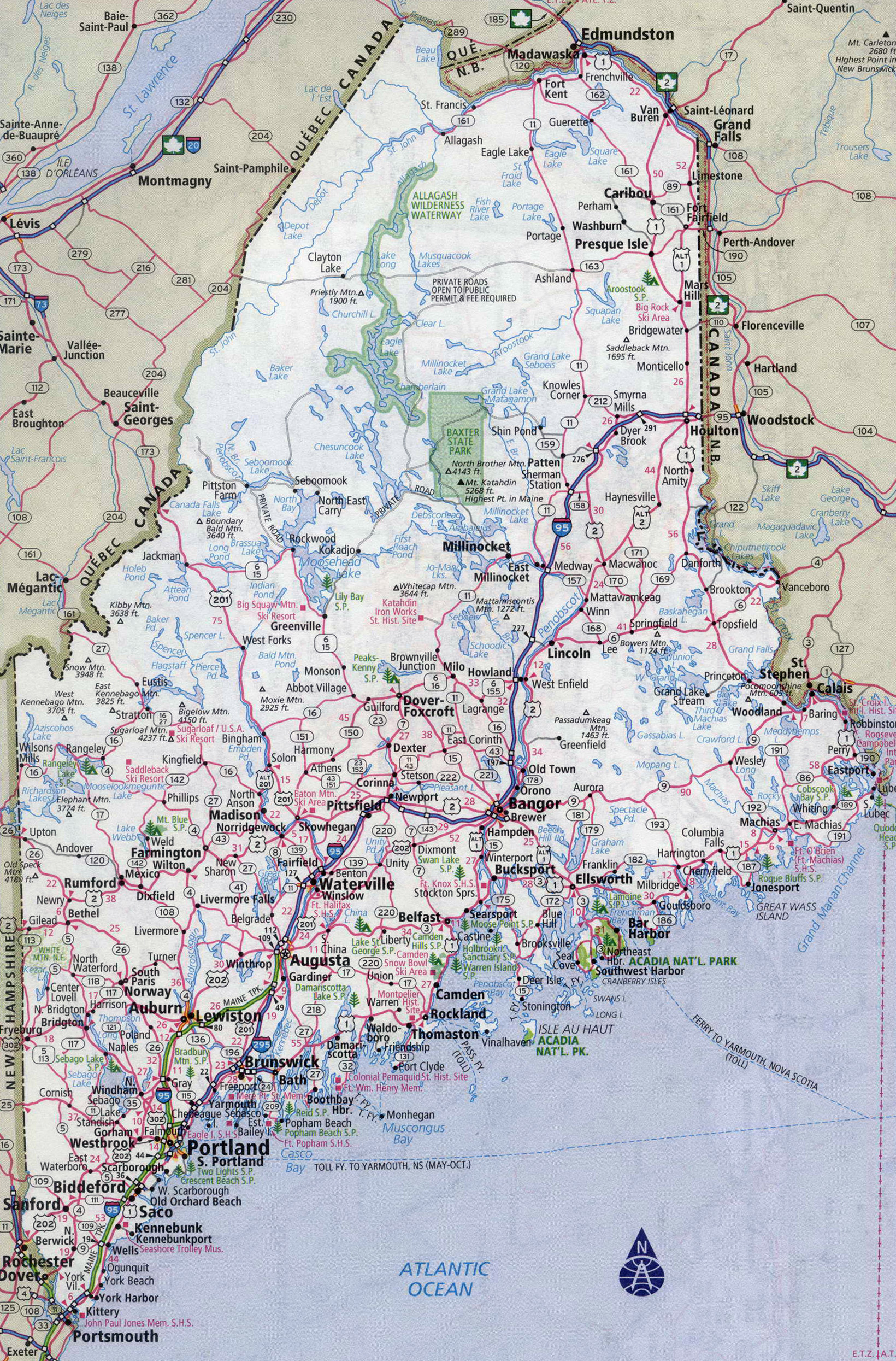 Large Detailed Roads And Highways Map Of Maine State With