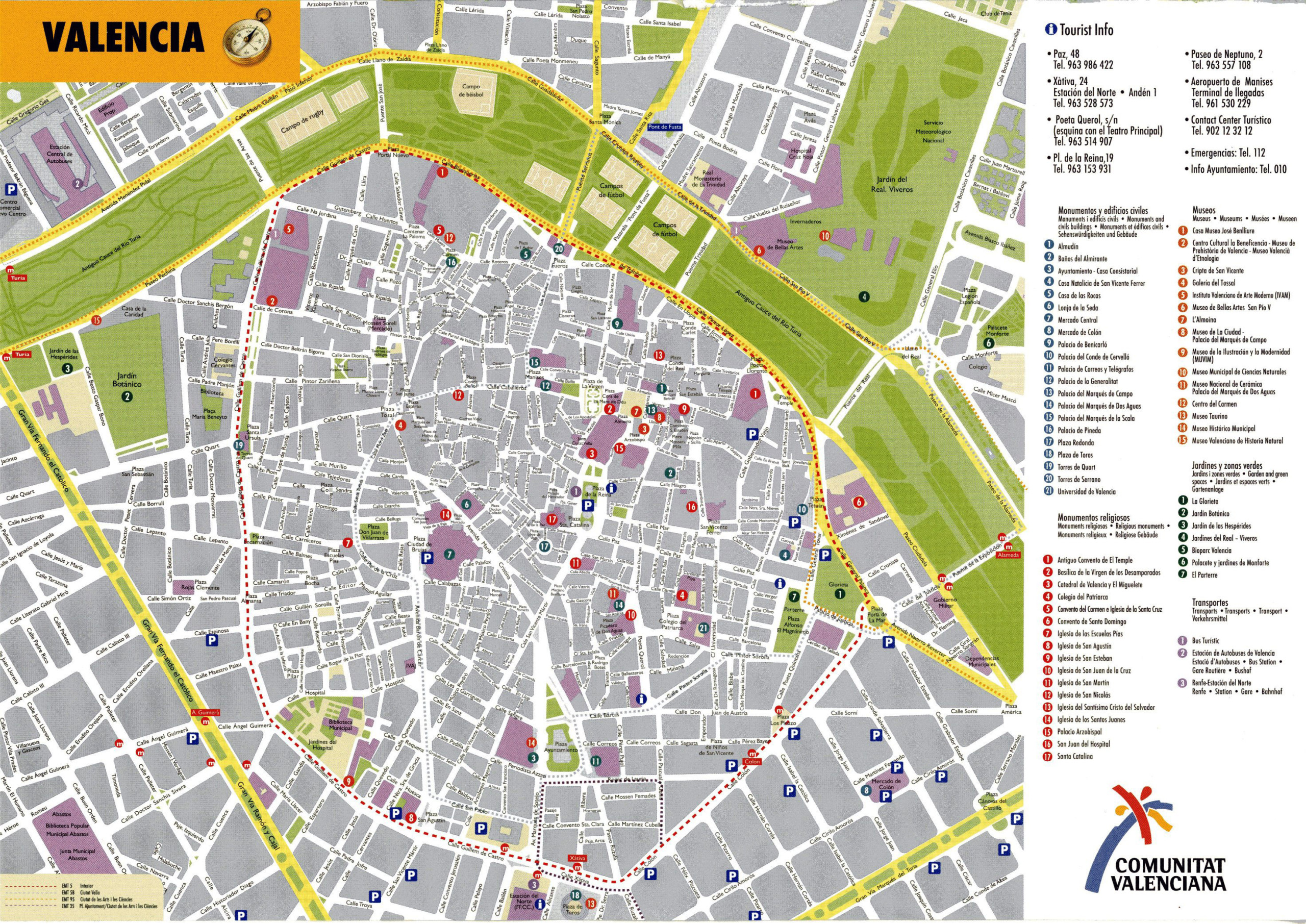 Large Detailed Tourist Map Of Valencia Downtown Vidiani