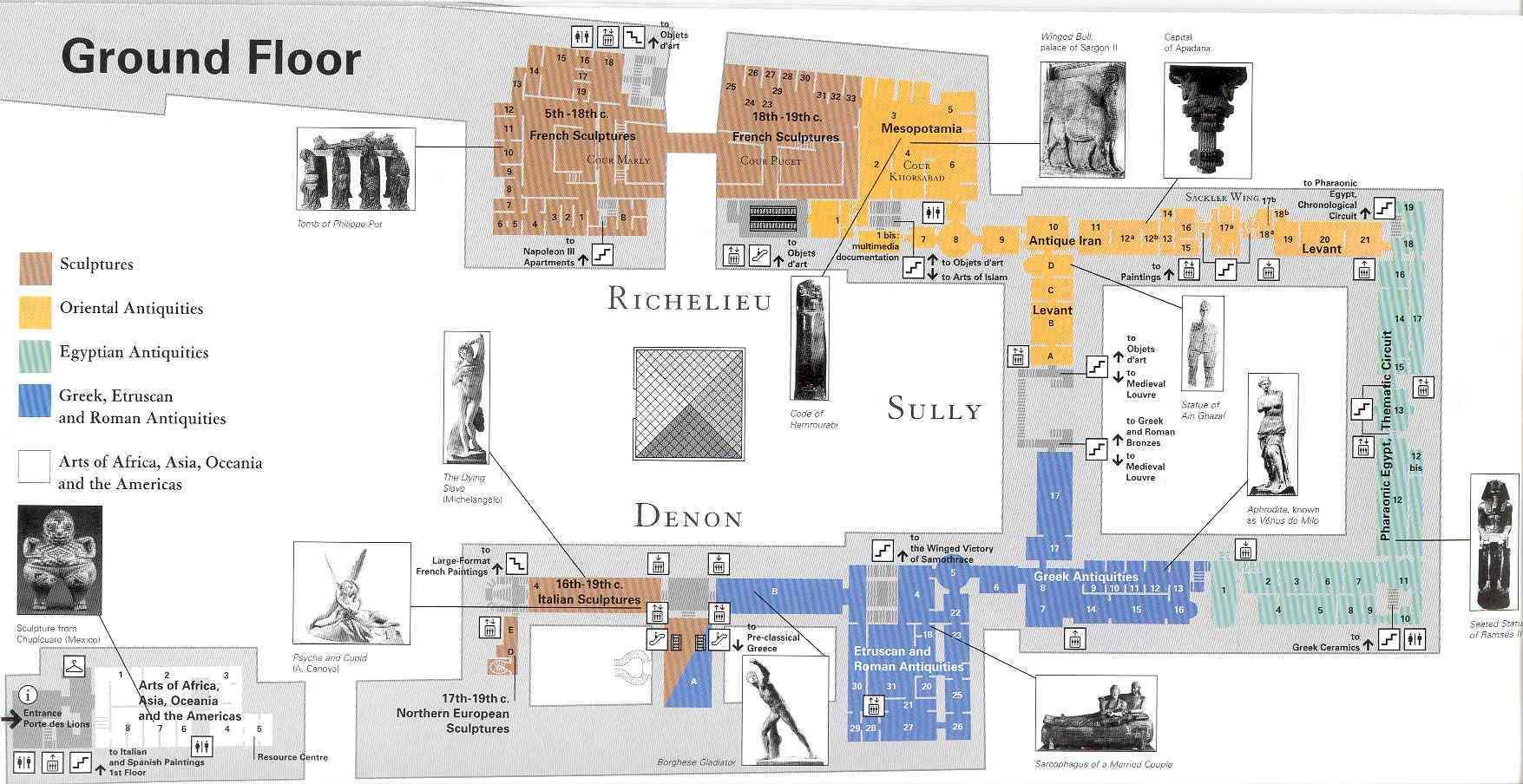 Louvre Museum Map Map Of Louvre Museum le de France