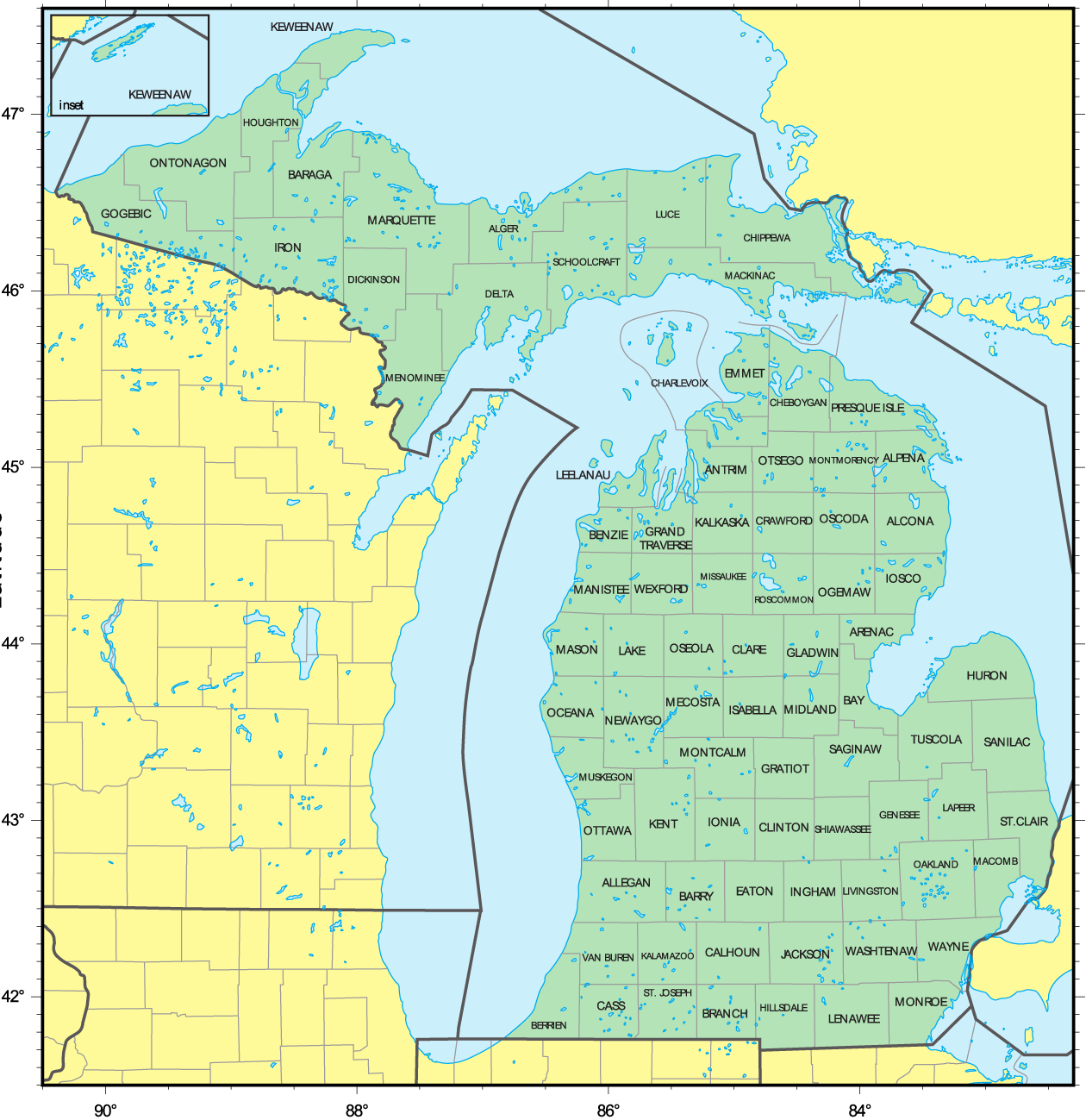 Map Of Counties In Michigan