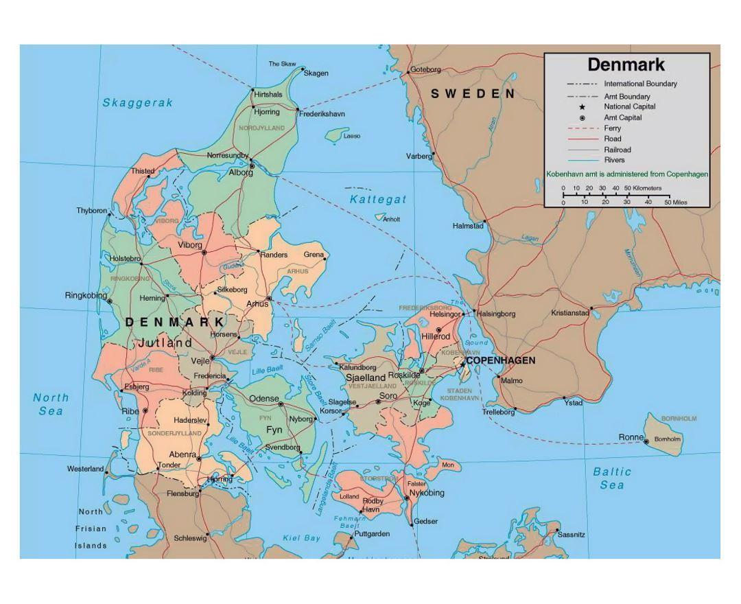 Map Of Denmark Detailed Map Of Denmark Northern Europe