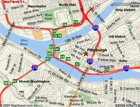 Map Of Downtown Pittsburgh Pittsburgh Map Ohio