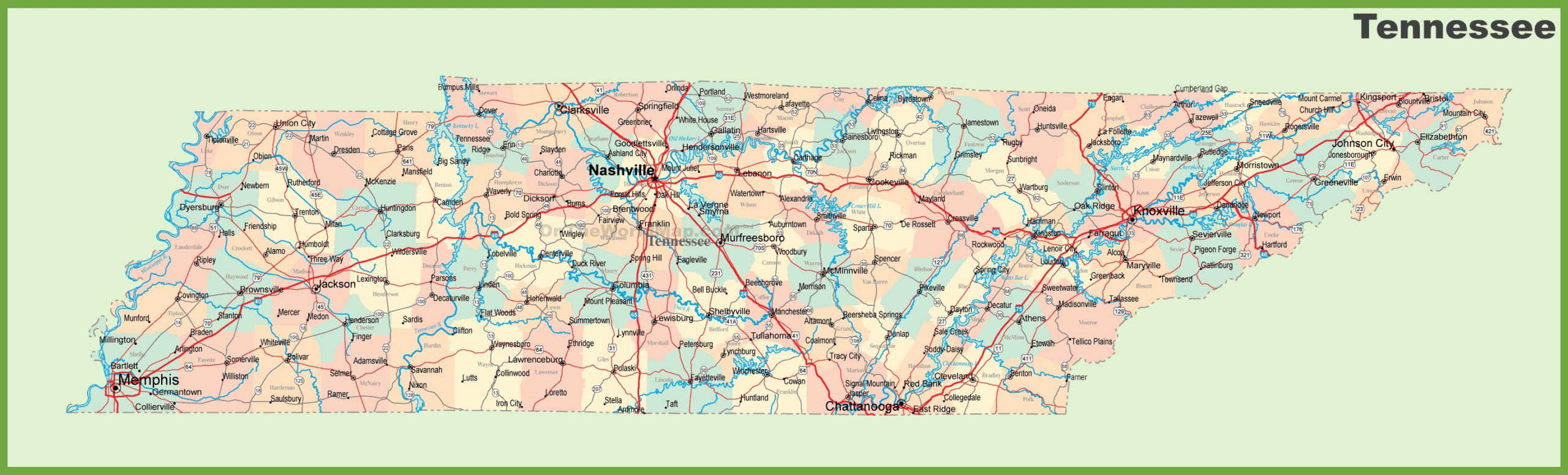 Map Of Tennessee Cities Eastern Time Zone Population
