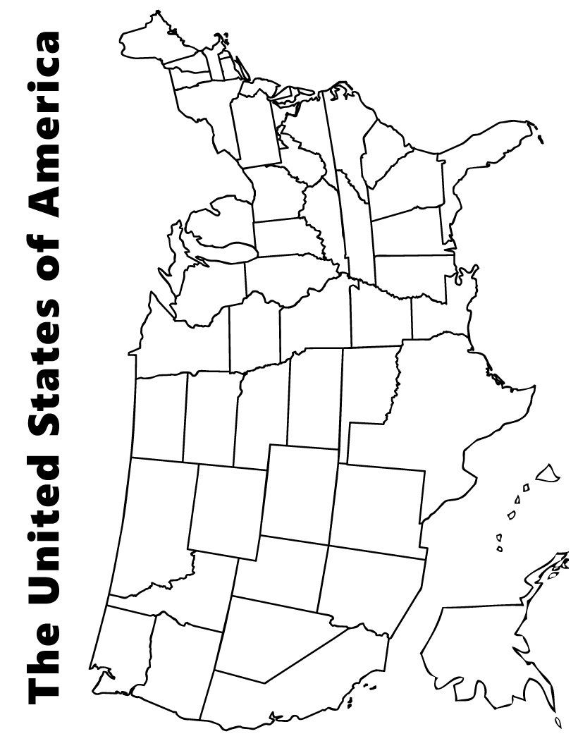 Map Of The USA Coloring Page Exploring History Us