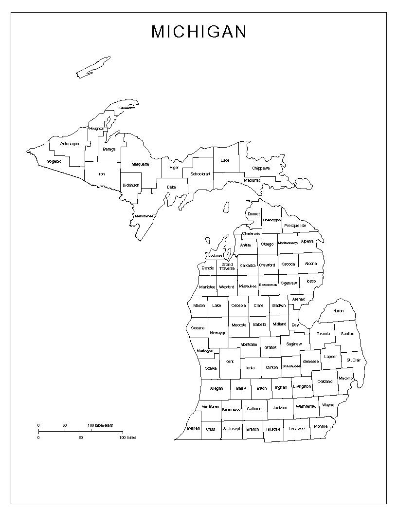 Michigan Labeled Map