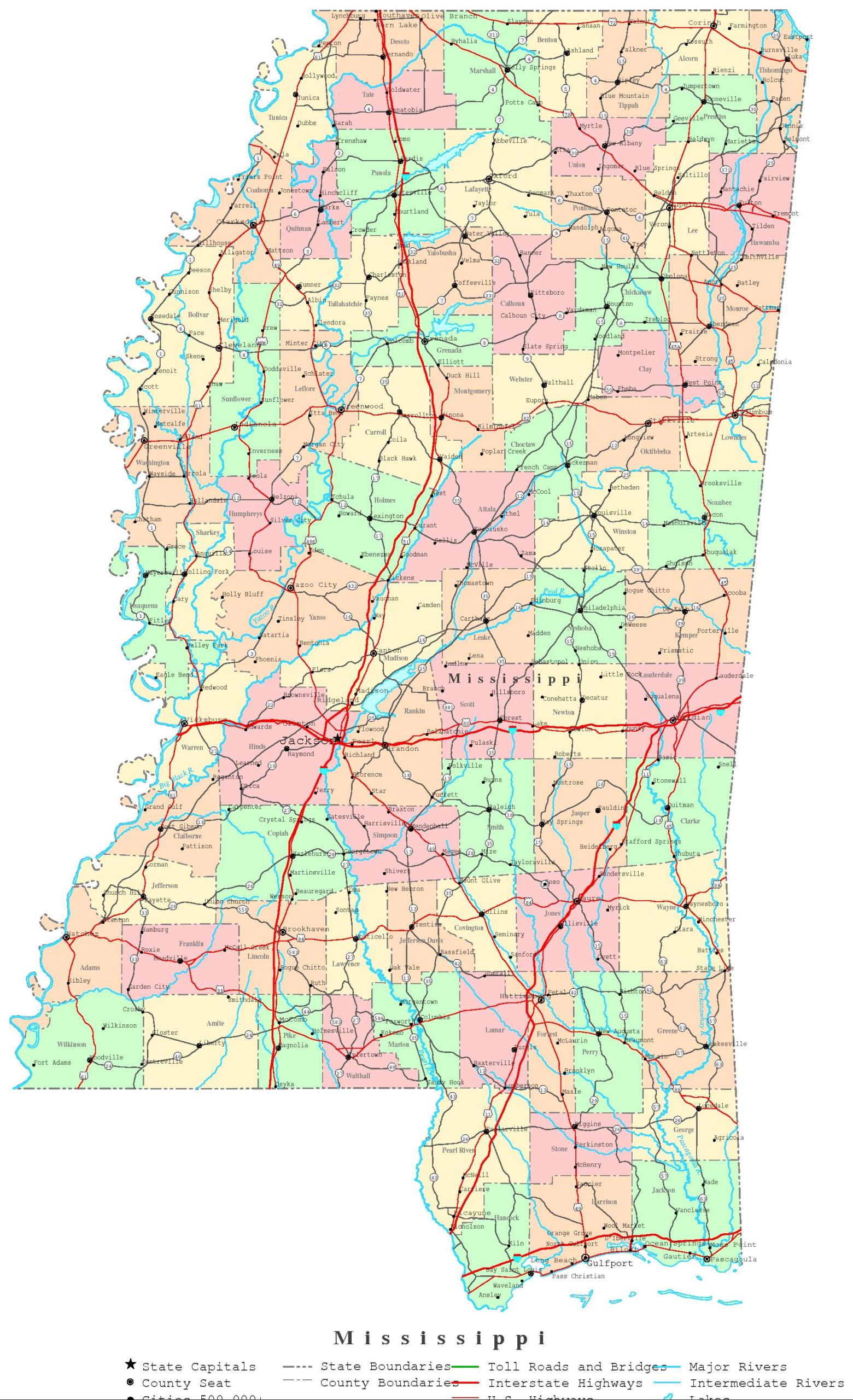 Mississippi Printable Map