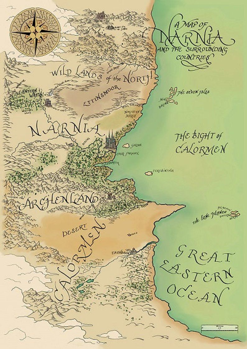Narnia And The Surrounding Countries Map Of Narnia