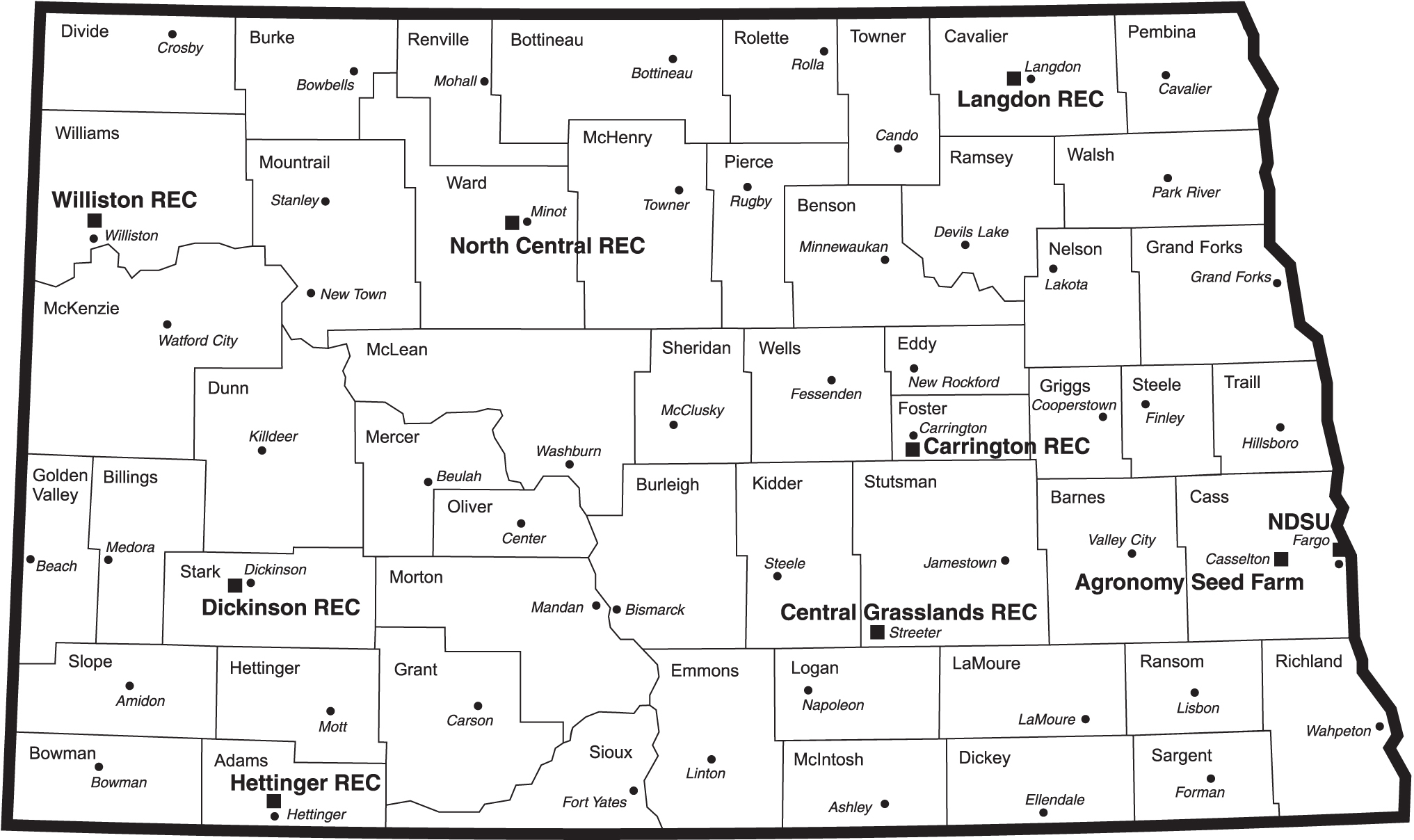 North Dakota Map With RECs ND Agricultural Experiment