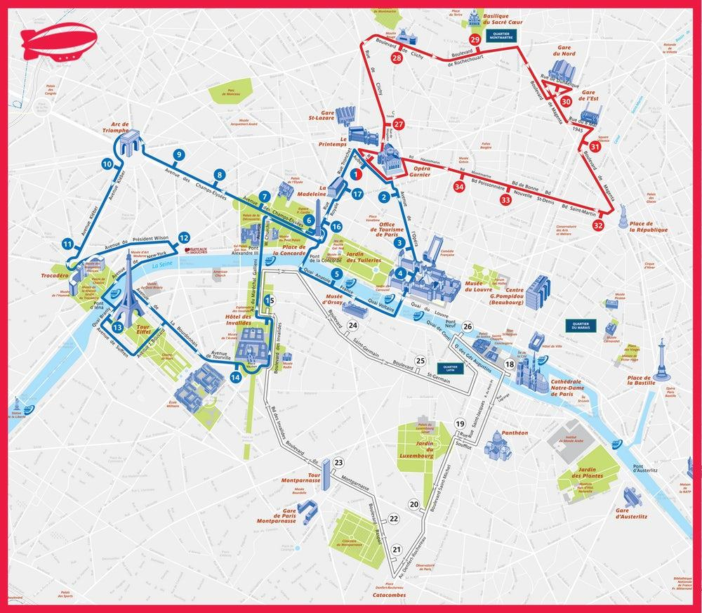 Paris Hoho bus route Karte Paris Tourist Bus Route Map