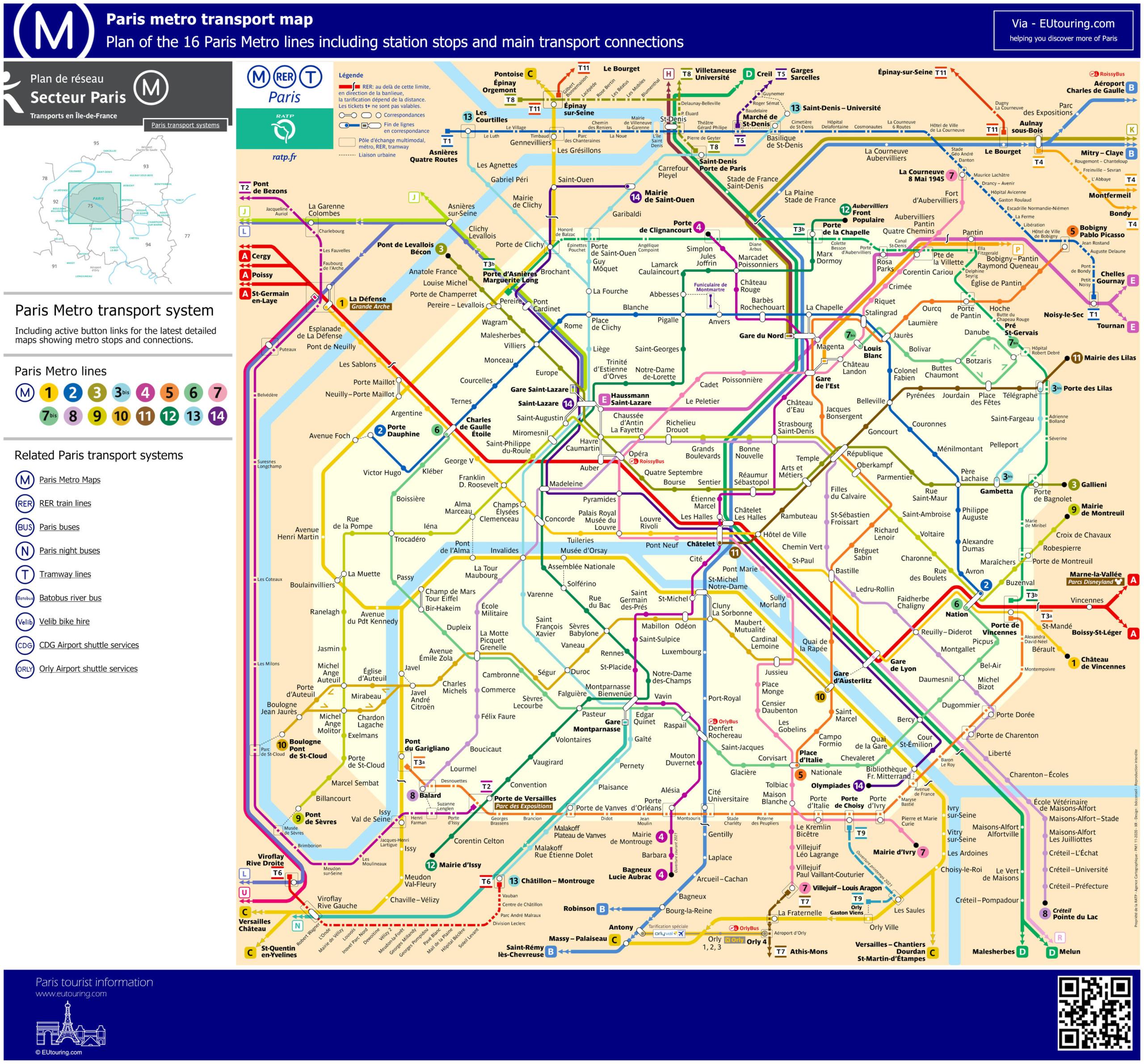 Paris Metro Maps Plus 16 Metro Lines With Stations