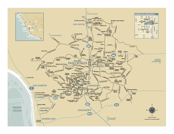 Paso Robles Wine Country Map Paso Robles California