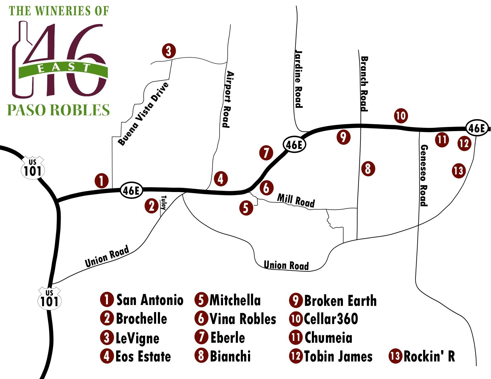 Paso Robles Winery Map Free Paso Robles Wineries Highway