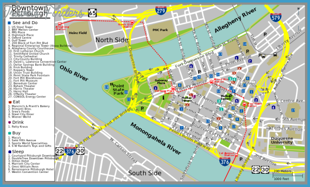 Pittsburgh Map Tourist Attractions TravelsFinders Com