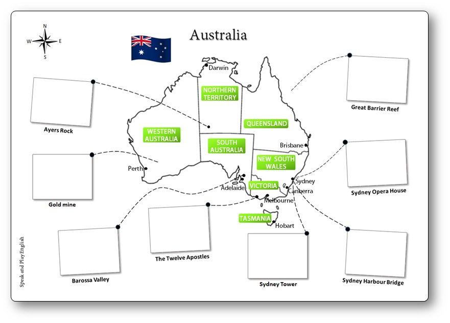 Printable Australia Illustrated Map For Children