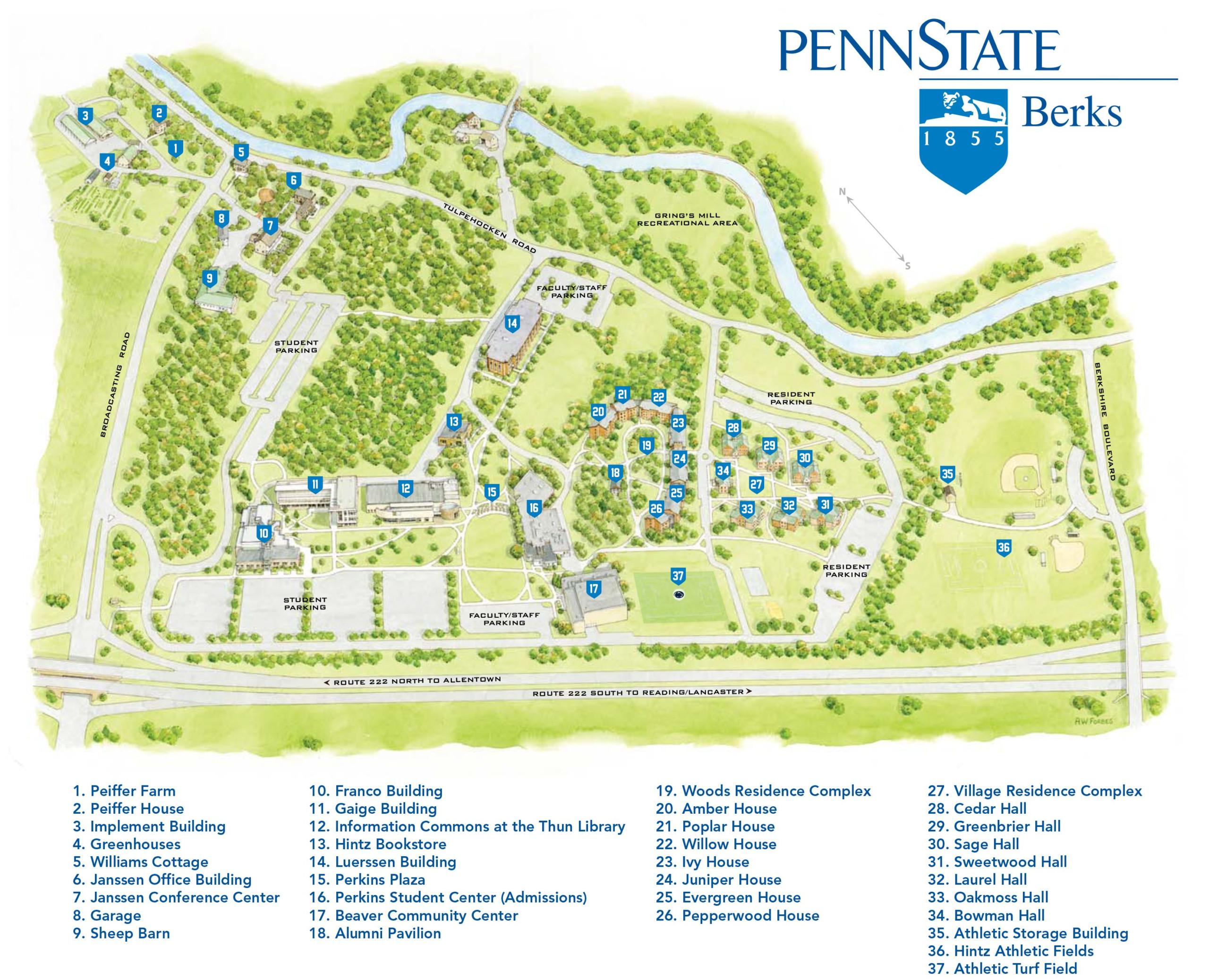 Printable Map Of The Penn State Berks Campus Http bk