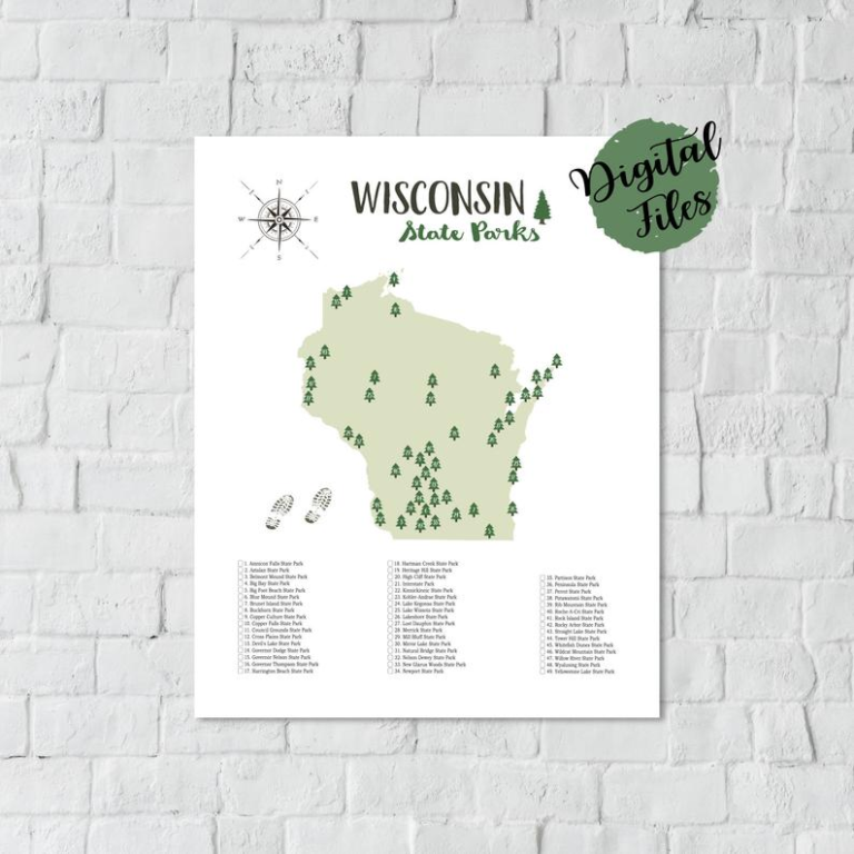 PRINTABLE Wisconsin State Parks Map State Parks Of