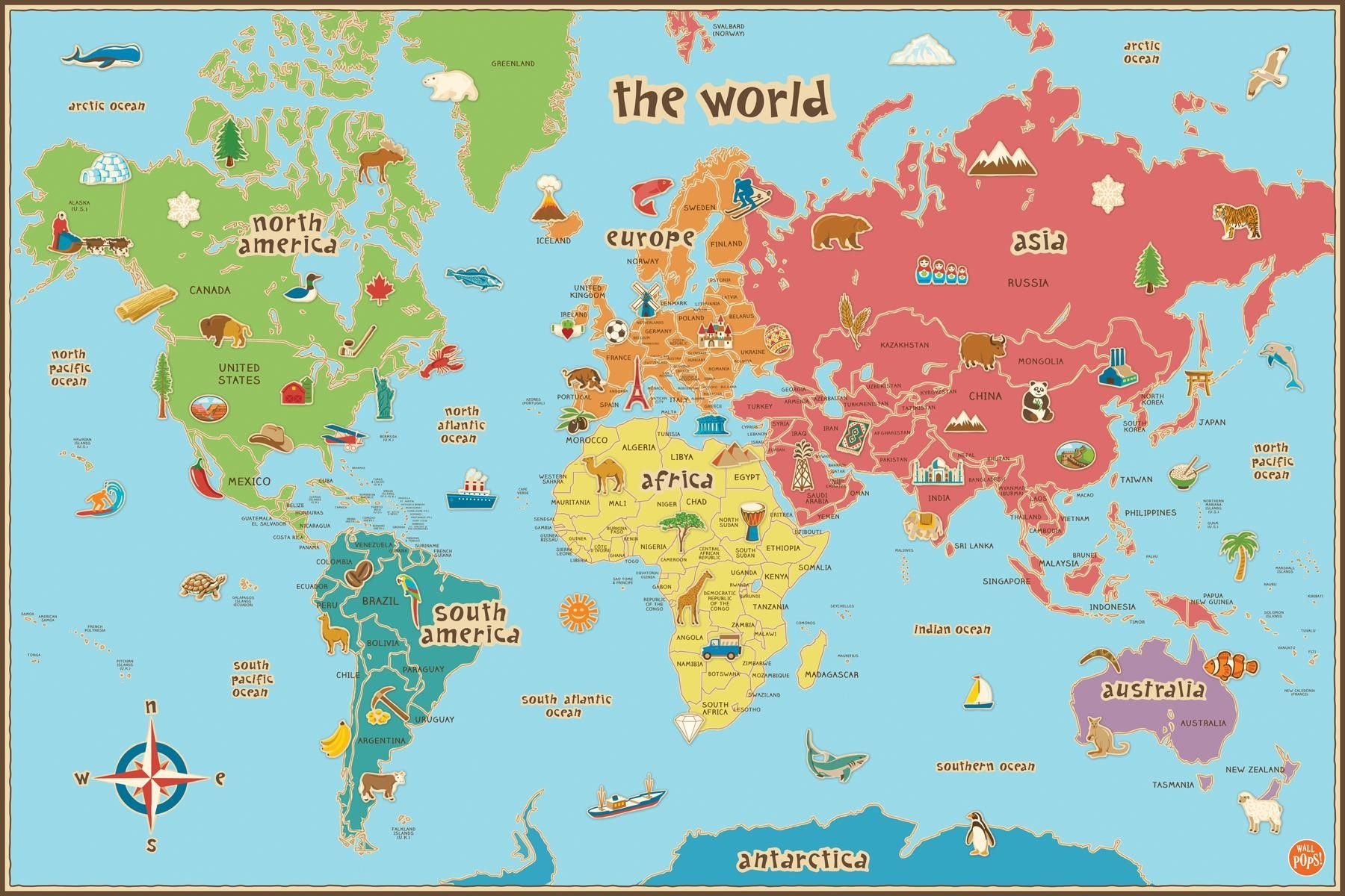 Printable World Map For Kids Maps Inside Of The