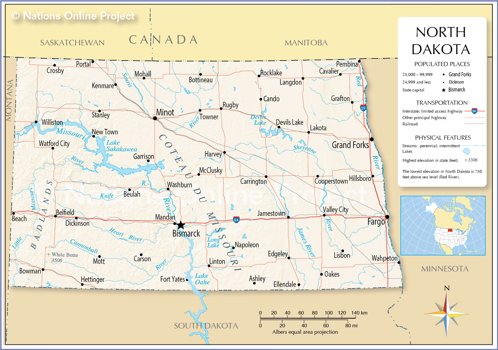 Reference Maps Of North Dakota USA Nations Online Project