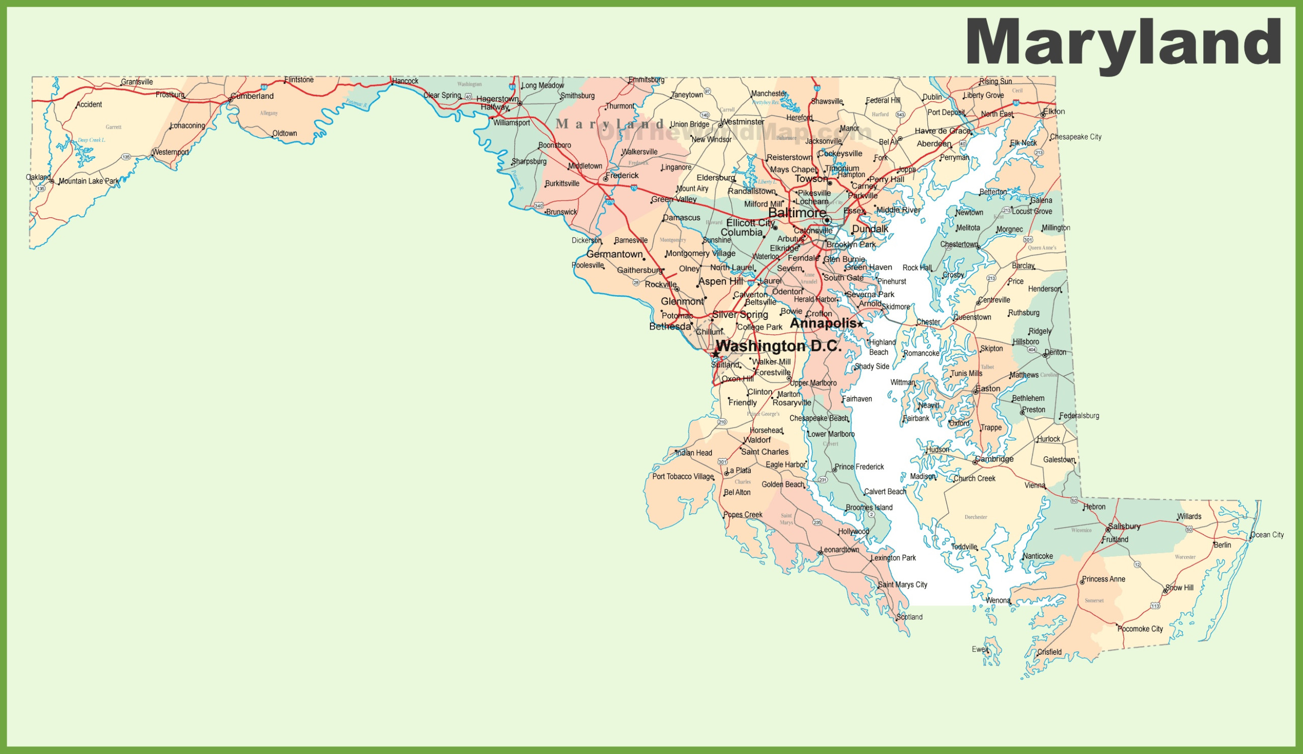 Road Map Of Maryland With Cities