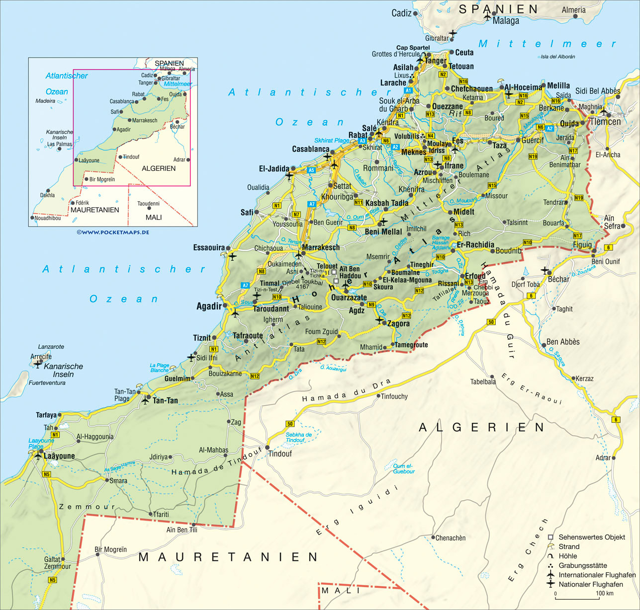 Road Map Of Morocco With Relief Cities And Airports