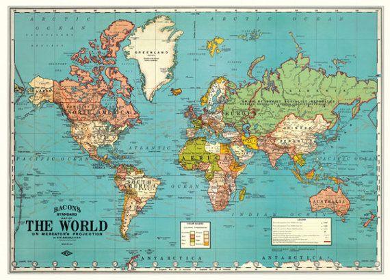 SMALL Vintage World Digital Map PRINTABLE Map For Nursery