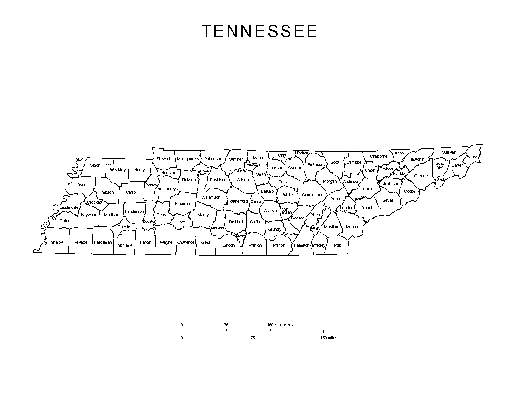 Tennessee Labeled Map
