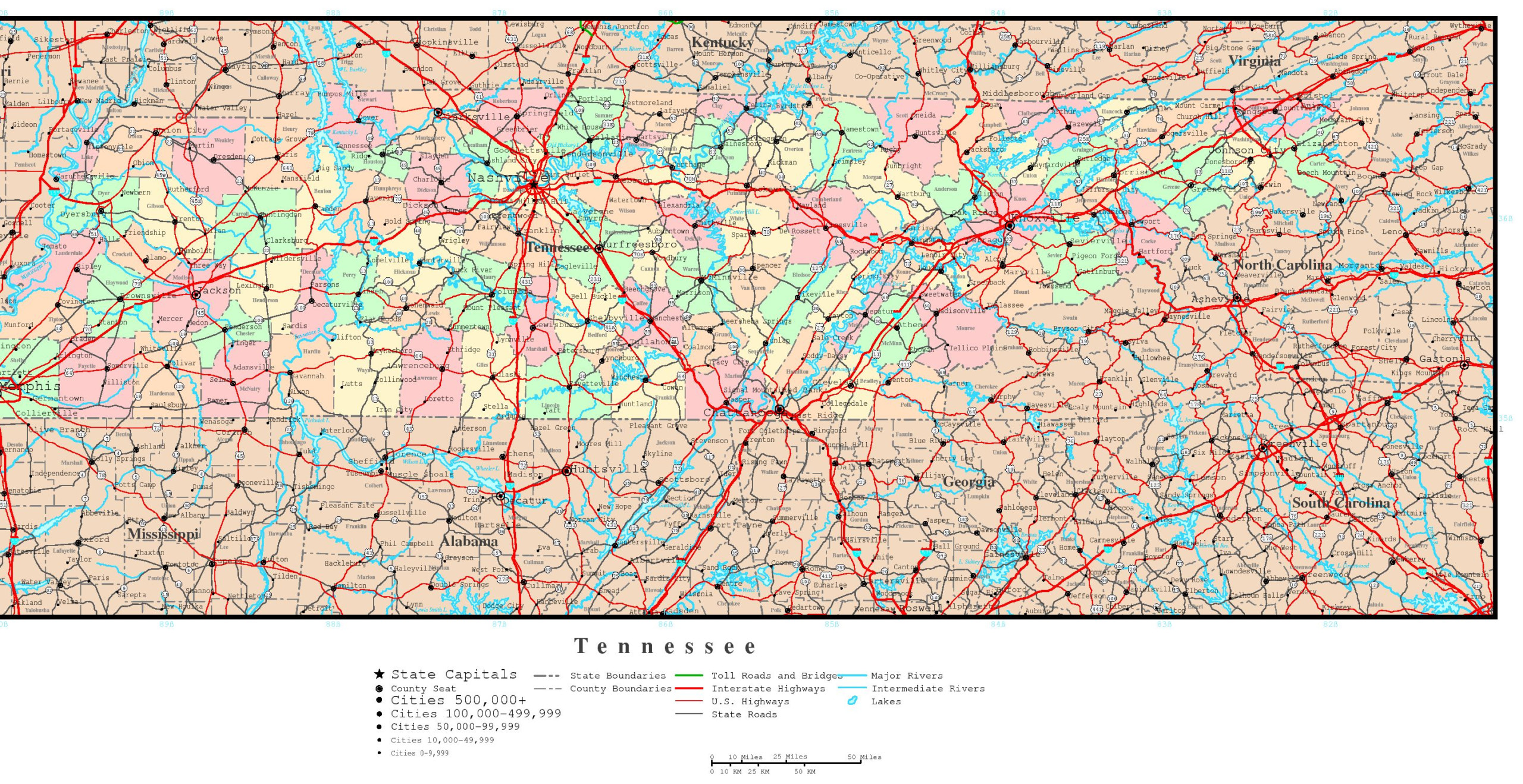 Tennessee Political Map