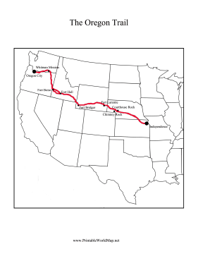 This Printable Oregon Trail Map Shows The Path Of The