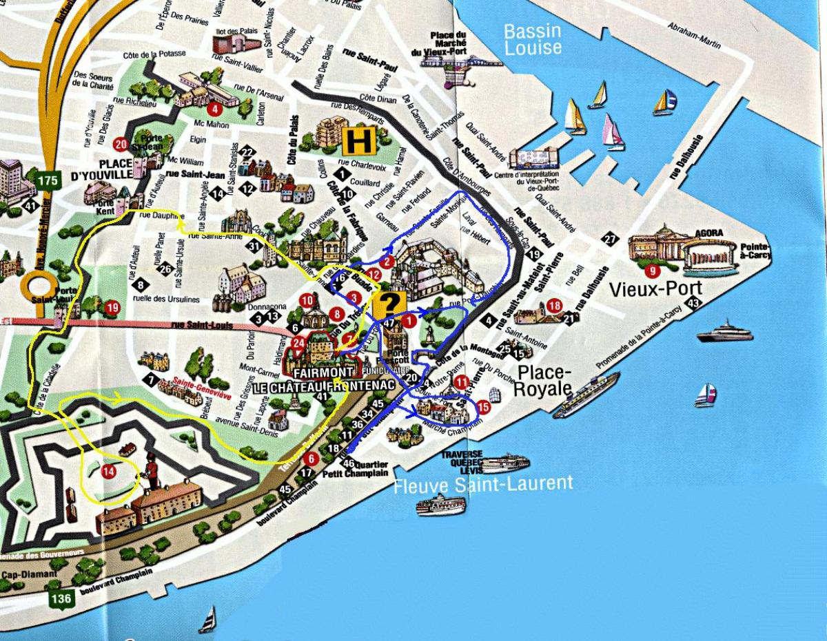 Tourist Map Of Old Quebec City Map Of Old Quebec With