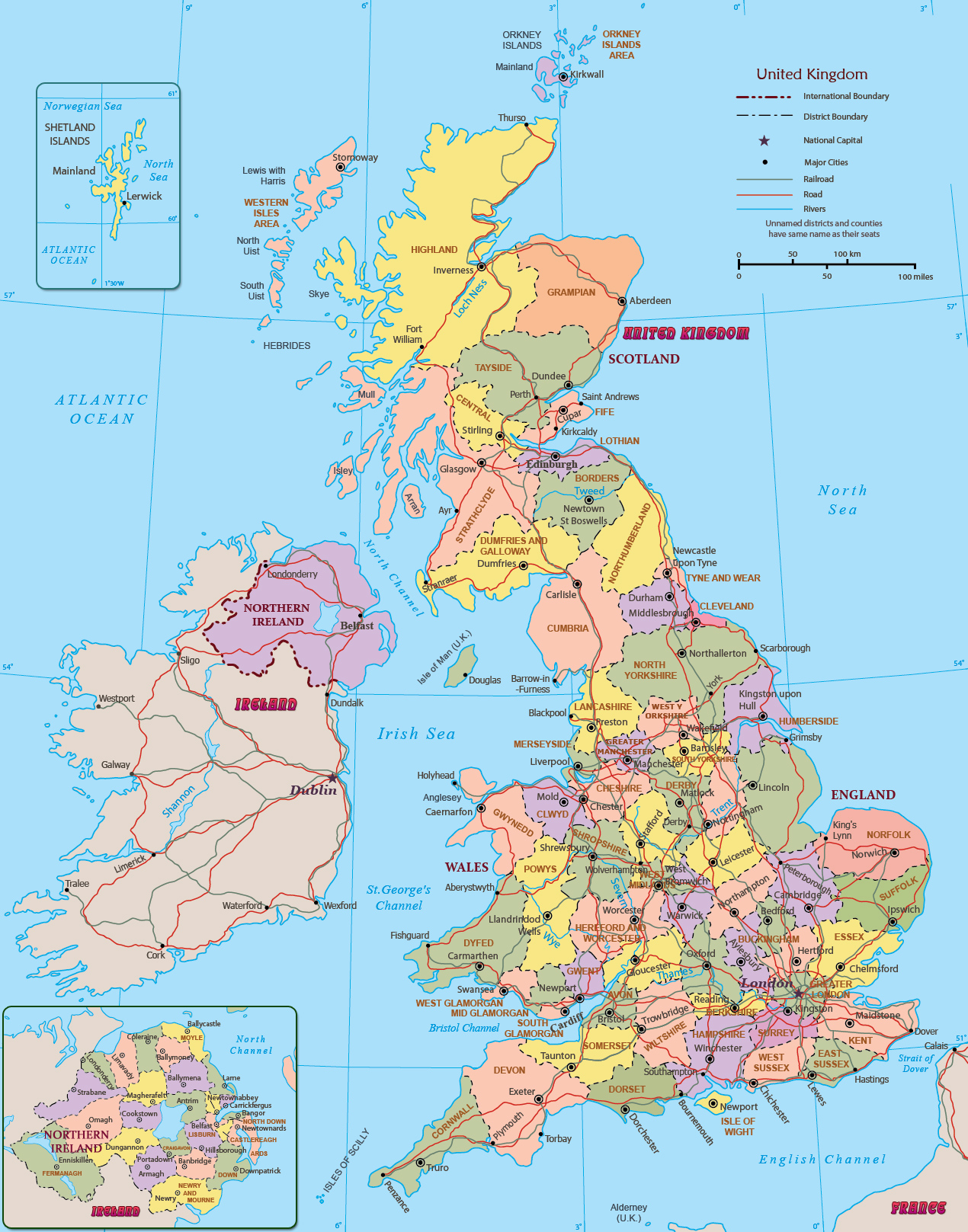 United Kingdom Map England Wales Scotland Northern